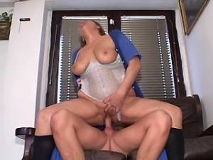 Horny grandma with big tits gets cumload in mouth