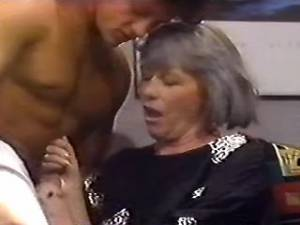 Nice granny in stockings licked and sucks cock