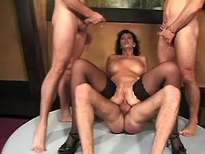 Lusty mature gets cum by numerous guys in group