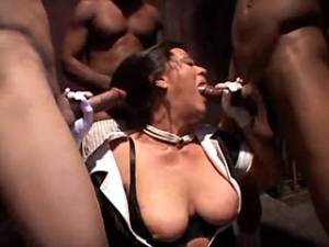 Nasty granny serves chocolate dicks in gangbang