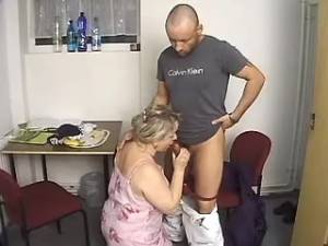Guy hard fucks grandma in doggy style after work