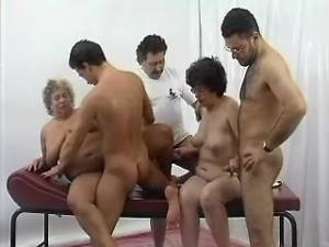 Lustful old ladies fucked by guys in group sex