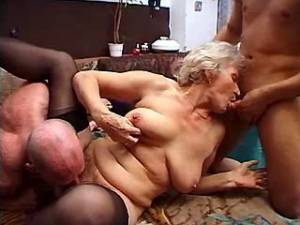 Lusty granny gets double fuck and cum in group sex