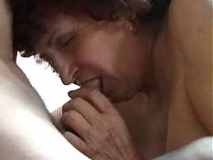 Old slut in stockings sucks hard cock and licked