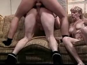 Three old women and man in crazy orgy