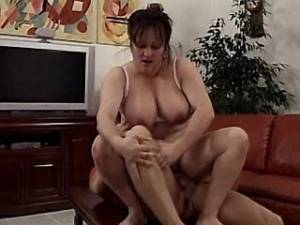Plump busty mature jumping on cock