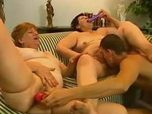 Two horny grannies share young cock