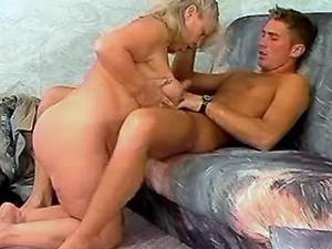 Fat old woman jumping on young cock