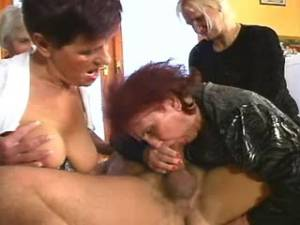 Four grannies play with strong dick