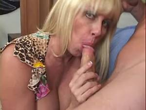Chesty mature throats strong cock of amateur guy