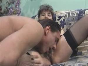 Granny in stockings fucks and gets cum on face