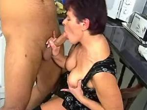 Practical granny rides cock and gets cumload on tits