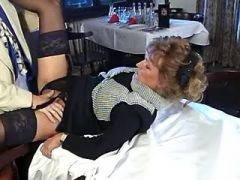 Naughty mature gets cum on tits after anal fuck