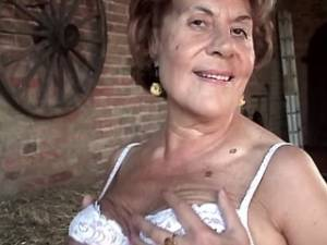 Plump granny spoils guy with hard cock on hayloft