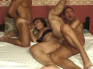 Strong men share lustful ganny in crazy groupsex