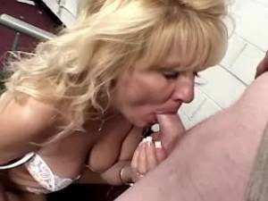 Horny man cums in greedy mouth of blonde granny