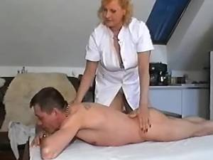 Old nurse spoils innocent guy in consulting room