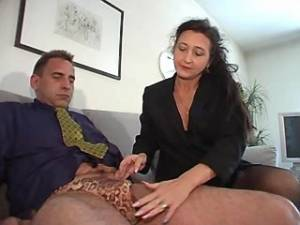 Mature secretary sucks strong cock and licked