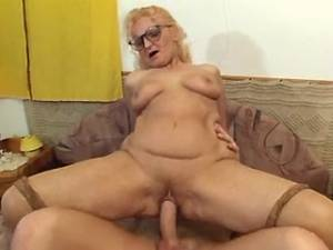Guy fucking granny in stockings in every poses