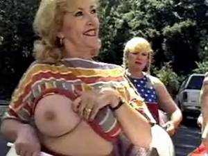 Numerous grannies have fun in crazy orgy outdoor