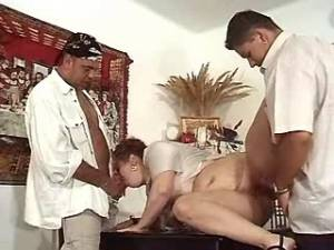 Plump redhead granny fucked by guys and gets cum