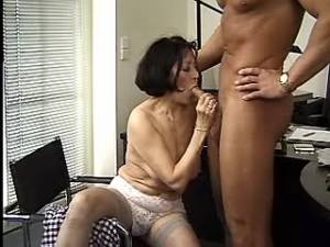 Boss fucks old secretary in stockings in office