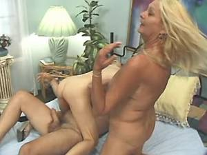 Spoiled granny and blonde milf get cum in bedroom