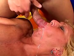 Blonde mature gets cum after hurd sex in all holes