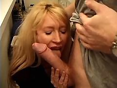 Mature sucks out sperm from long cock