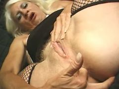 Granny seduces man and sucks cock