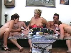 Grannies fucked by guys in group