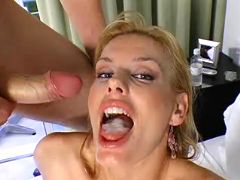 Milf getting mouthful of dick juice