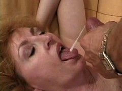 Old mature gets facial after sex