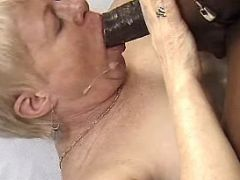 Old lady sucks cock and gets cum
