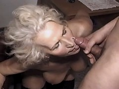 Hungry granny fucks and gets facial