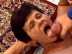 Granny gets lavish cumload in mouth