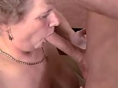 Retired secretary titfucks her boss