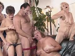 Lewd grannies suck cock in hot orgy