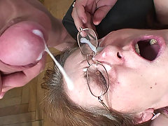 They have fucked her mature pussy and mouth and now they cum on her face