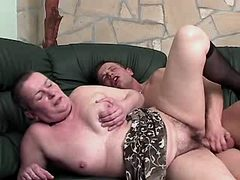 Old chubby mature gets fuck on sofa