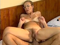 Depraved old woman assfucked on bed