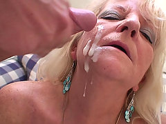After sex with the naughty granny the two guys will cum on her wrinkled old face