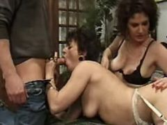 Granny sucks hard cock in groupsex