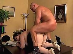 Fat mature gets cock in all holes