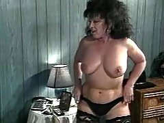 Plump grandma seduces man in bed