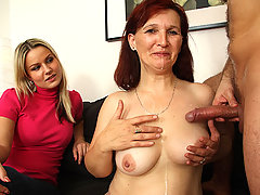The hot old bitch loves young cock and this guy's wife is happy to let him bang her