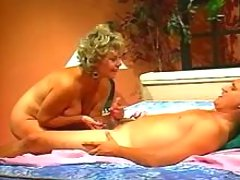 Busty mature sucks and gets cumload