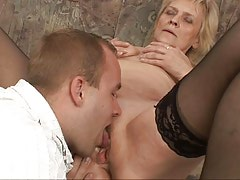 Blonde granny is riding meat after oral warm up