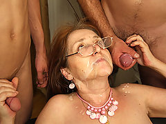 Mature has let them use her mouth and her pussy and now they are cumming on her face