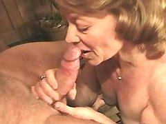 Old lady jumps on dick and gets cum in mouth